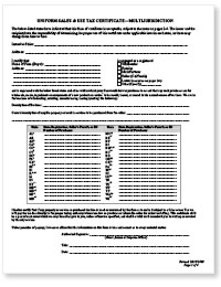 Uniform Sales and Use Tax Certificate Form